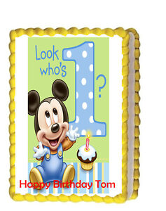Mickey Mouse Baby Birthday Party Icing Edible Cake Topper ...