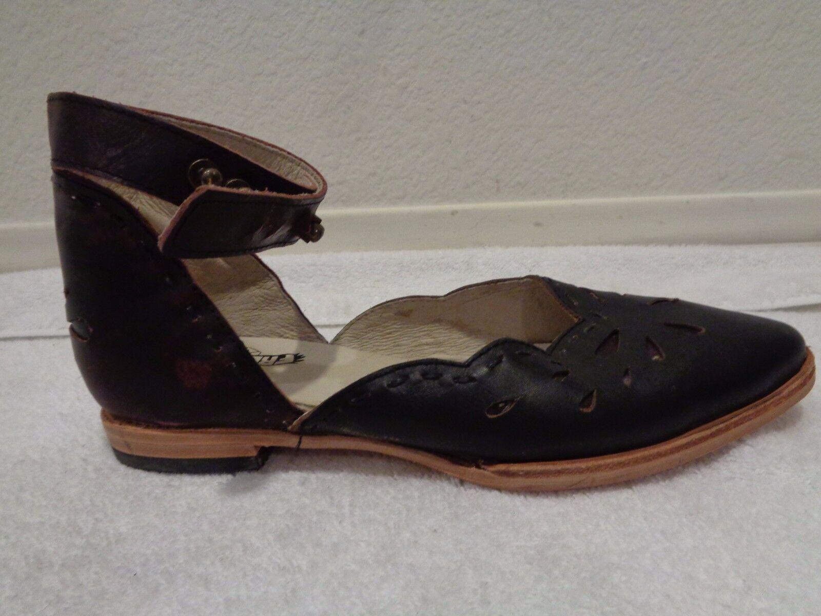 Freebird ankle wrap Braun Sandale 6 with stencil detail SZ 6 Sandale 816b22