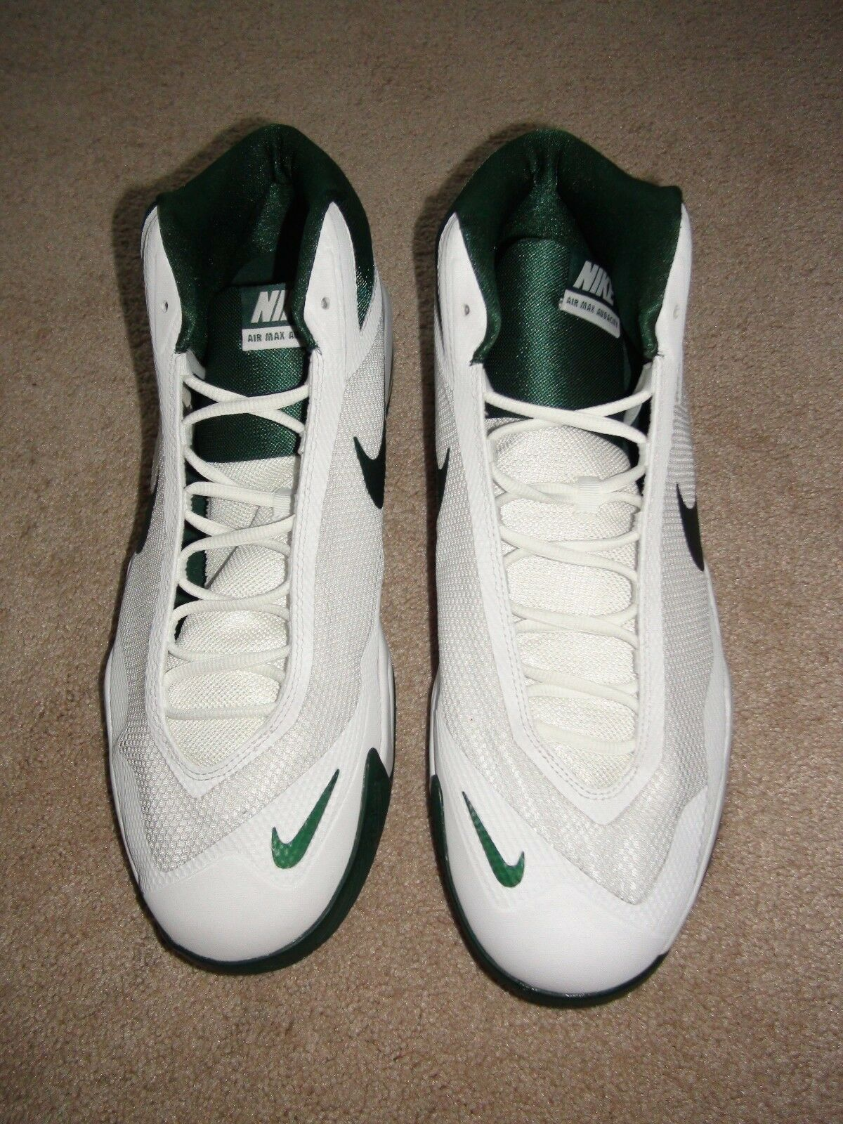 Men's Nike Air Max Audacity Basketball shoes White Green 813318-130 Sz 15.5 NEW