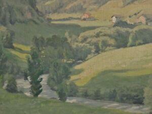 leider-unsigniert-Pastell-Alpen-Gemaelde-GROSSES-TAL-MIT-BERGHOFEN-UND-FLUSS