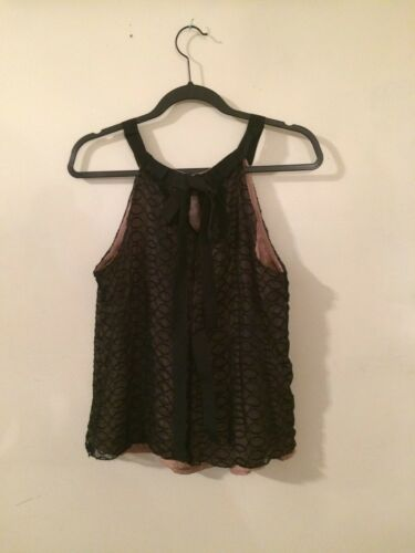 Womens Lace Tan Kenar Embroidered Black sleveless Tops Size12 Underneath With dqw0rx0XT