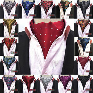 Men-Silk-Cravat-Scarves-Paisley-Polka-Dots-Ascot-Wedding-Party-Self-tied-Ties