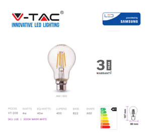 LED-Clear-Filament-Bulb-4W-B22-A60-By-V-TAC-3000K-Warm-White