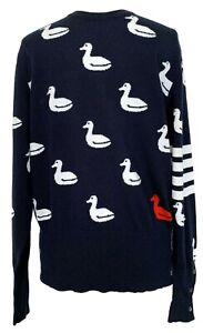NEW-THOM-BROWNE-MEN-039-S-NAVY-CASHMERE-SWEATER-WITH-DUCK-PRINT-5-2850