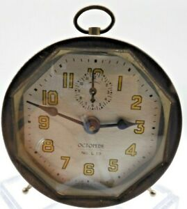 Antique-RARE-LUX-Octopede-No-L13-30-Hour-Alarm-Clock-Running-Well