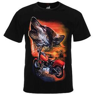 9566d333cd72 Wanderer Desert Sunset Wolf Howling Bagger Motorbike Indian Tee ...