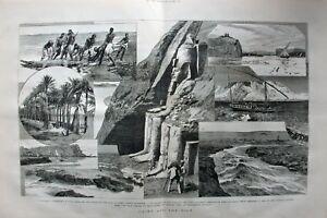 Agypten-Kairo-und-der-Nil-2-Blatt-Grafik-Stich-Holzschnitt-von-1880