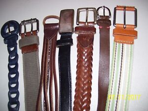 12-BELTS-LEATHER-CLOTH-SUEDE-COWHIDE-OLD-NAVY-LIZ-HARLEY-BAUER-HILFIGER