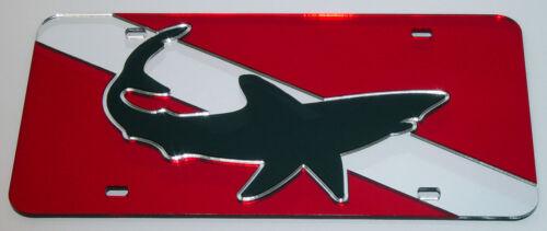 Mako Shark on Dive Flag license plate laser cut mirrored acrylic Nautical SCUBA