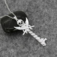 Punk Men Jewelry 925 Silver Skull Key Style Necklace Pendant