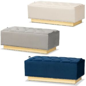 Luxe-Storage-Bench-Ottoman-Velvet-Fabric-Upholstered-Silver-Stud-Beige-Gray-Blue