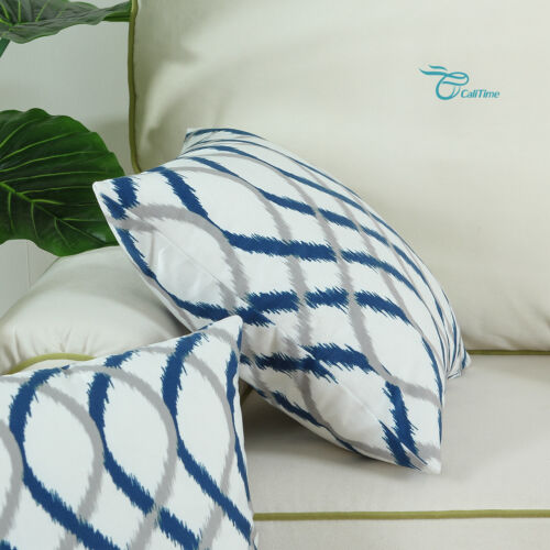 Calitime Cushion Covers Throw Pillow Cover Cases Two-tone Waves Strips Geometry