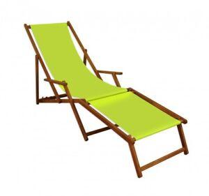 Details zu Liegestuhl Massiv Holzliege Deckchair Sonnenliege mit Fußteil  Pistazie 10-306 F