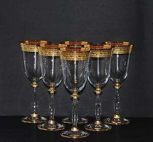 6 ROTWEINGLÄSER, 250 ml., BOHEMIA KRISTALLGLAS, HANDBEMALT IN GOLD, NEU & OVP