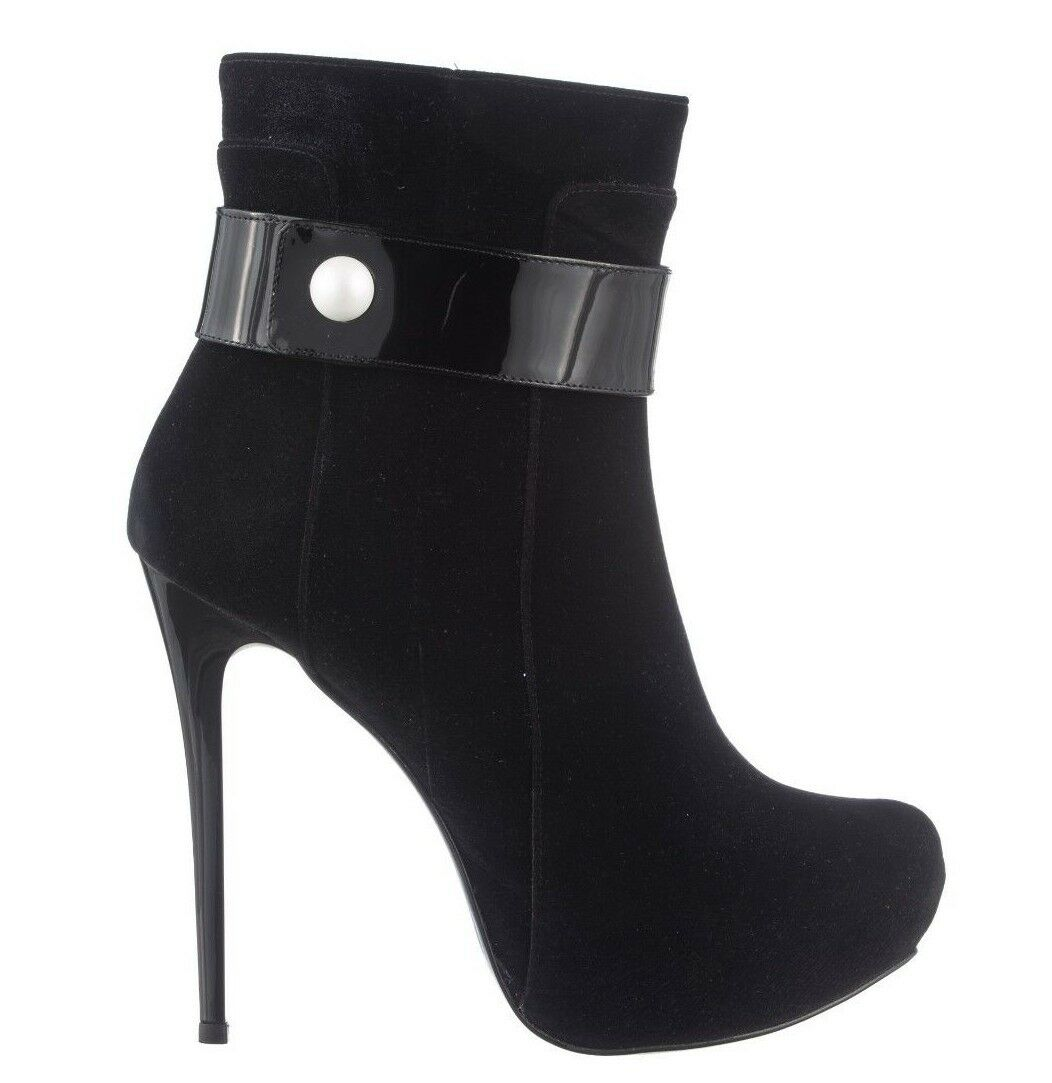 MORI MADE IN ITALY ANKLE BOOTS STIEFEL STIVALI SHOES VELVET PEARLS BLACK black