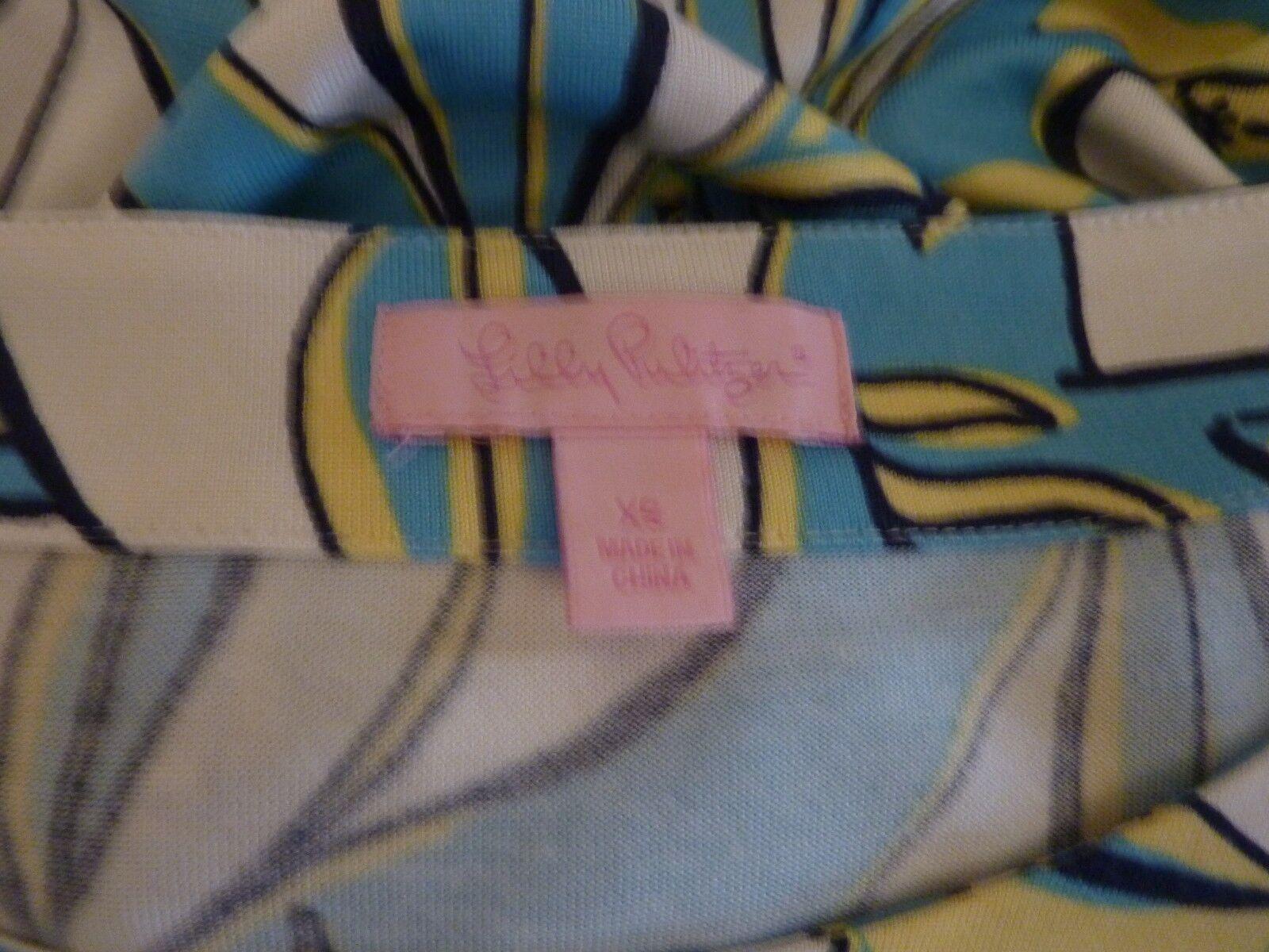 LILLY PULITZER Size XS bluee Yellow Silk Silk Silk Blend Jersey Dress Nautical Yacht Print 12e65b