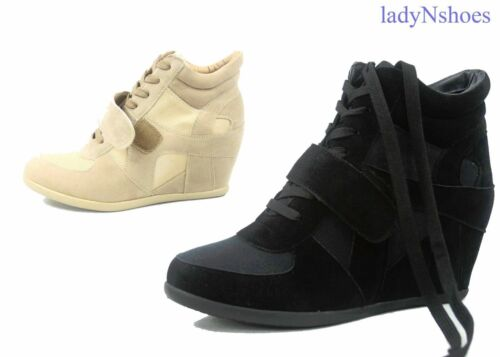 NEW Women/'s Black Beige Lace Up High Top Wedge Fashion Sneaker Shoes Size 5-10