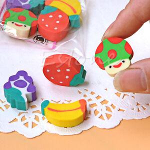 50Pcs Cute Mini Eraser Fruit Rubber Pencil Children Creative Stationery Gift Toy