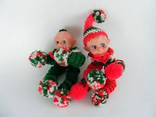 2 Vintage Elf Doll Handmade Crocheted Positionable Green Red Christmas Orniments