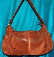 Lucky Brand Whiskey Suede Leather Boho Coachella Slouch Hobo Handbag Purse Bag