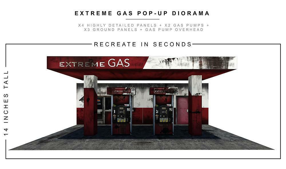 Extreme Sets  Gas Station  Pop-Up DIorama Display 1 12 Scale Action Figures