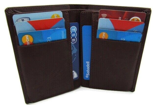 New Mens High Quality Brown Real Leather Wallet Credit Card Holder Money Pouch