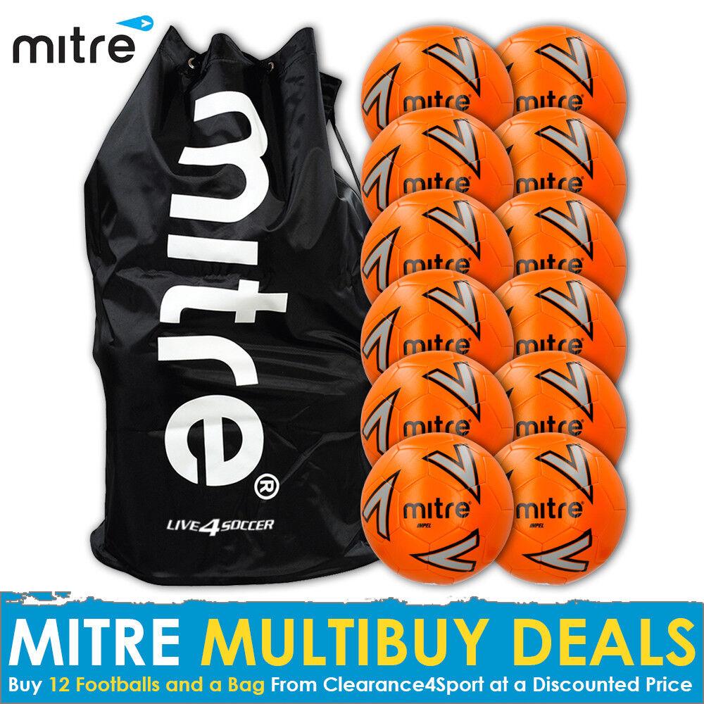Mitre Impel Orange 12 Training Footballs Plus Mitre Bag 2018