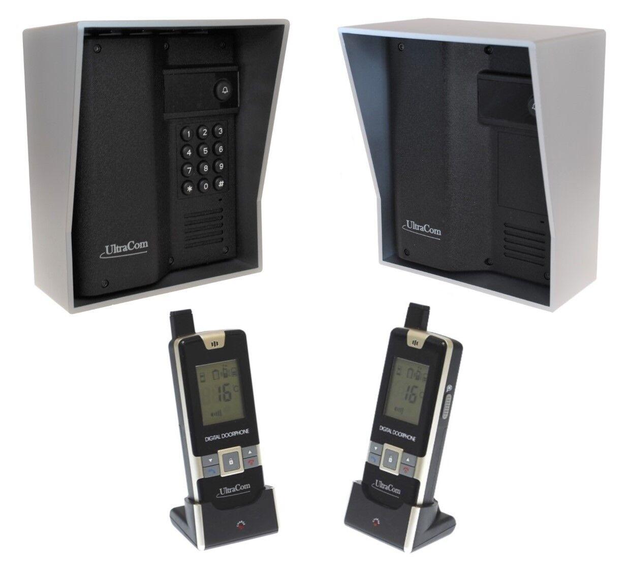 600m Inalámbrico Ultracom Intercomunicador Con Dos Auricular's & Estación de llamadas con Capucha