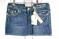 Laguna Beach Denim Crystal Cove Mini Skirt Hand Stitched Jeans Green Stitch