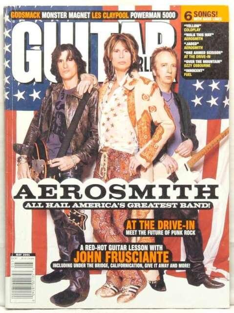 AEROSMITH GUITAR WORLD MAGAZINE STEVEN TYLER JOE PERRY JOHN FRUSCIANTE MAY 2001!