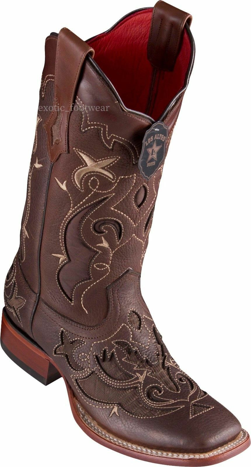 WOMEN WOMEN WOMEN LOS ALTOS BROWN LIZARD OVERLAY RANCH-SQUARE-TOE WESTERN BOOT 55514f