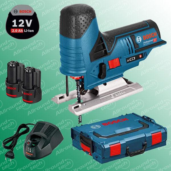 Bosch Akku-Stichsäge GST 12V-70 (10,8 V-LI) + 2 Akkus 2,0 Ah + Lader + L-Boxx