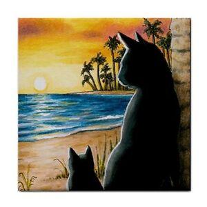 Black-Cat-597-Sunset-Large-Ceramic-Tile-6x6-Made-USA-art-painting-LDumas
