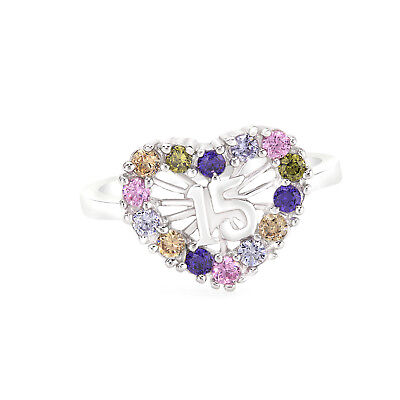 925 Sterling Silver Sweet 15 Quinceanera Multi-Color Cz Heart Ring
