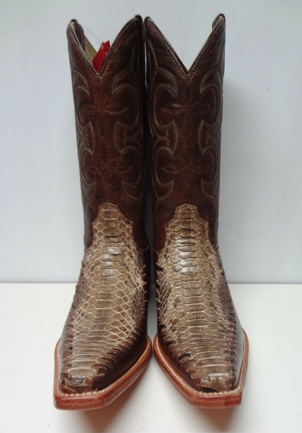 New Men'S Real Python Snake Skin Genuine Leather Cowboy Boots Rodeo Western C126