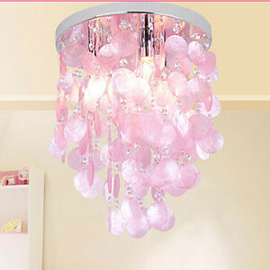 Pink crystal shell pendant lamp chandelier lighting for Chandelier light for girls room