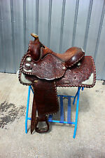 "44-4 Circle Y 15""  show saddle with sterling silver corner plates super nice"