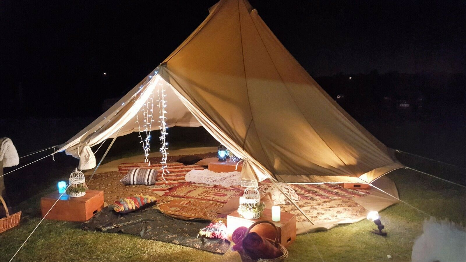 5M Canvas Bell Tent Waterproof Camping Tent Teepee Outdoor Glamping Hunting Yurt