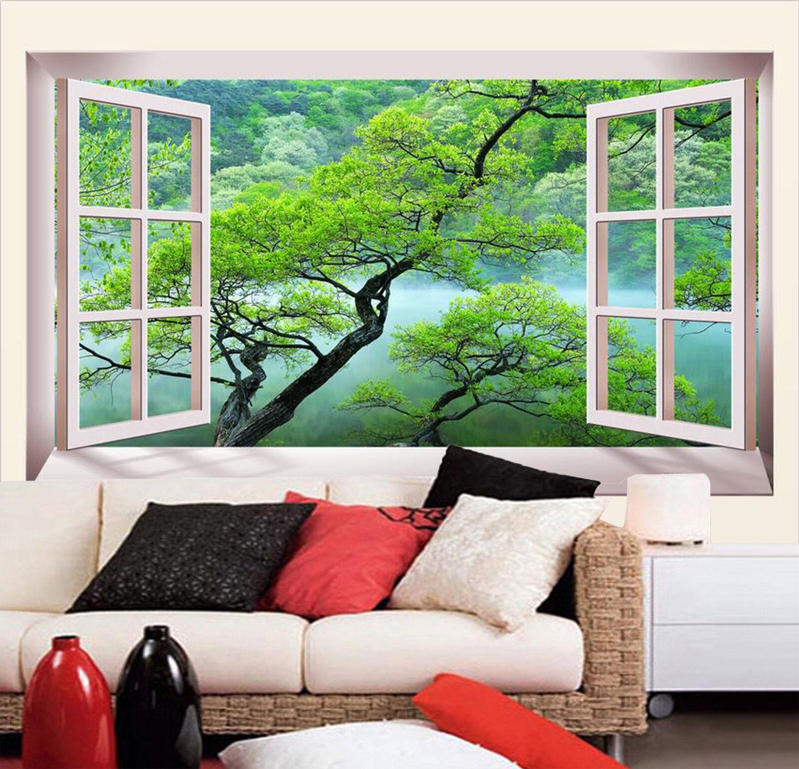 3D Windows Landschaft Baum 7893 Tapete Wandgemälde Tapeten Bild Familie DE Kyra