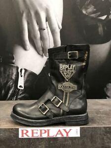 Details zu Replay Damenschuhe Schuhe Stiefel Stiefelette Boots Leder mit Logo Patches