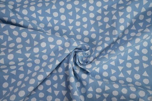 Baumwollstoff Kreise Dreiecke weiß auf hellblau 0,5m