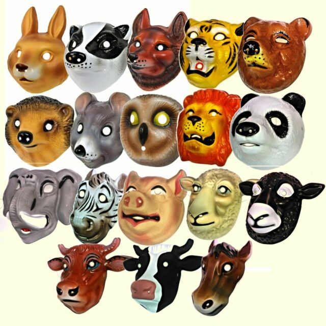 SMALL Plastic Animal Party Mask Children Fancy Dress Costume Elasticated Strap
