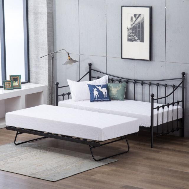 Black 3ft Single Metal Day Bed Frame Slatted Base With Trundle