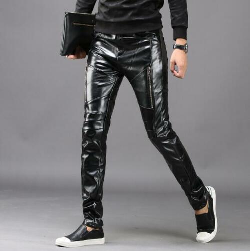 Punk Rock Mens Leather Motorcycle Slim Fit Long Pants Trousers Black Leather Hot