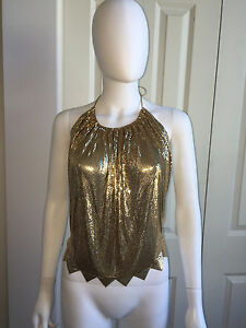 10284873f136a Details about VINTAGE 70s 80s WHITING   DAVIS GOLD METAL MESH DISCO CLUB HALTER  TOP M  AMAZING