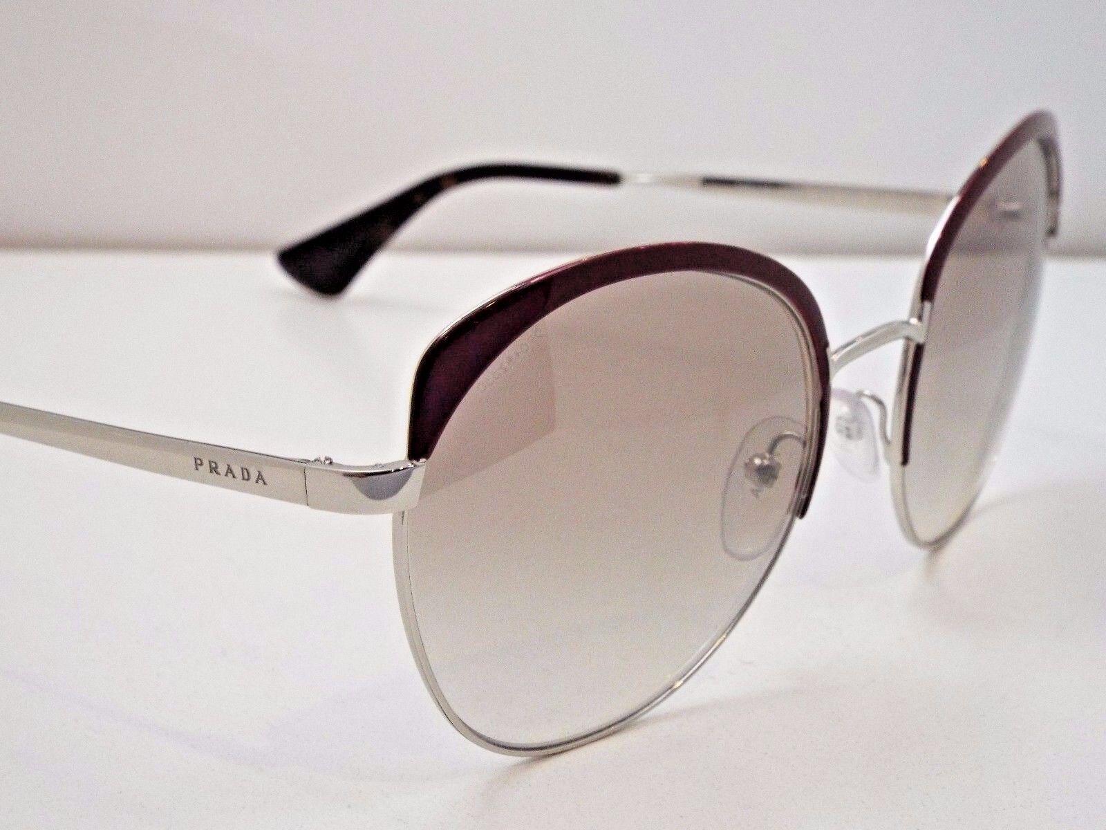 Authentic PRADA SPR54S UF6-4O0 Amaranth Silver Brown Mirror Sunglasses
