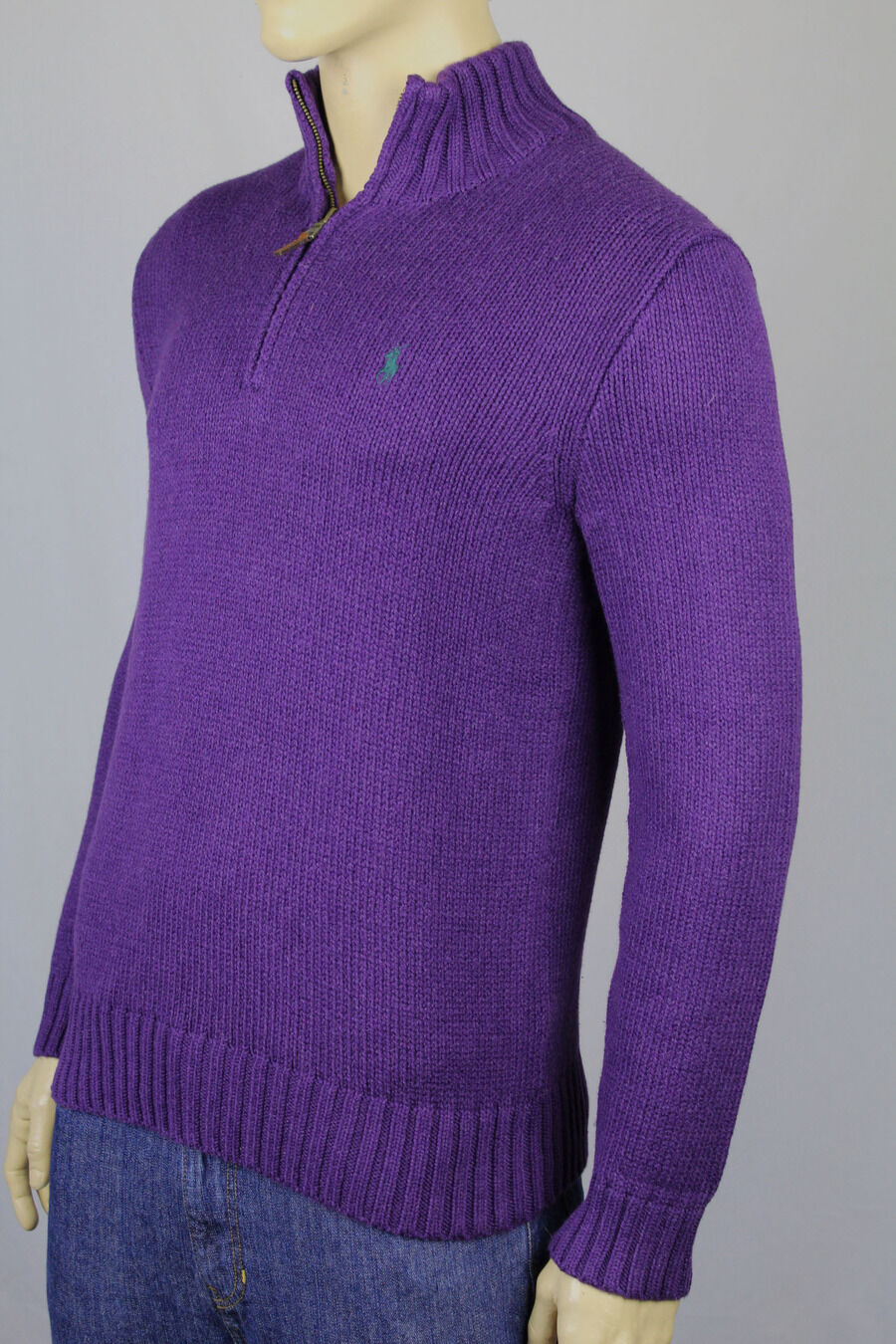 Polo Ralph Lauren Large L lila 1/2 Half Zip Sweater Grün Pony NWT