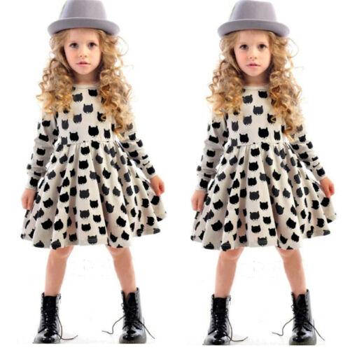 Toddler Girl Kids Winter Long Sleeve Princess Dress Cat Printed Basic Sundress