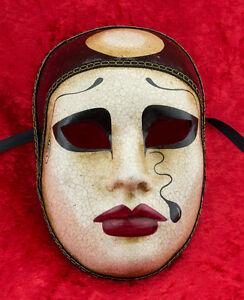 Maschera Di Venezia Pierrot Crackle IN Carta Pesta - 1838 - V13