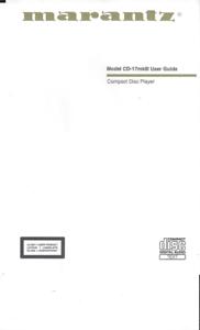 Marantz user manual Bedienungsanleitung für model CD 17 MKIII mehrsprachig Copy
